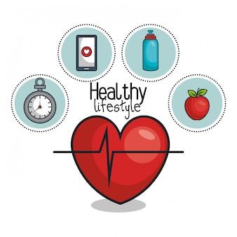 健康的なライフスタイルの要素のアイコンデザイン