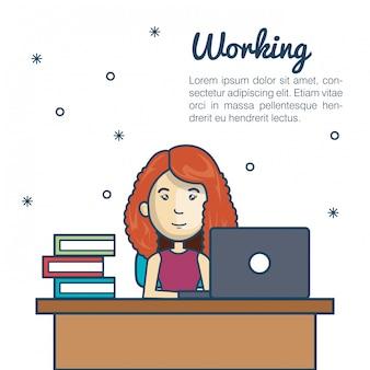 漫画女性作業ノートパソコンデスクデザイン