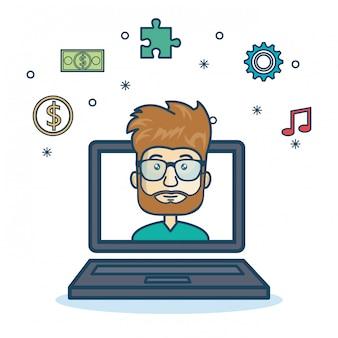 Мультфильм ноутбук парень значки веб-дизайн