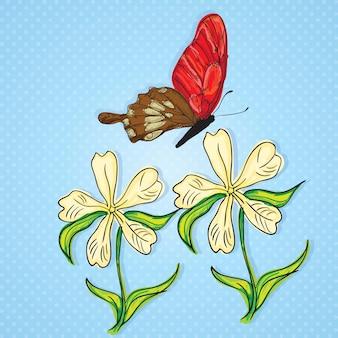 青の背景に白い花と赤と茶色の蝶