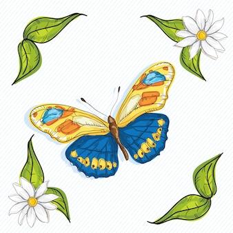 白地に青と黄色の蝶の聖霊降臨祭の花