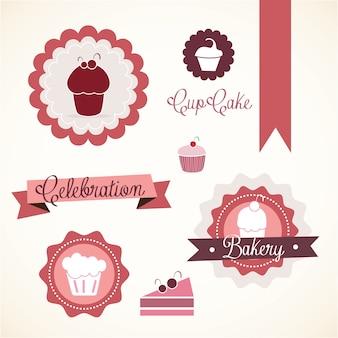 ケーキ&カップケーキのアイコン(概念ラベル&カード)