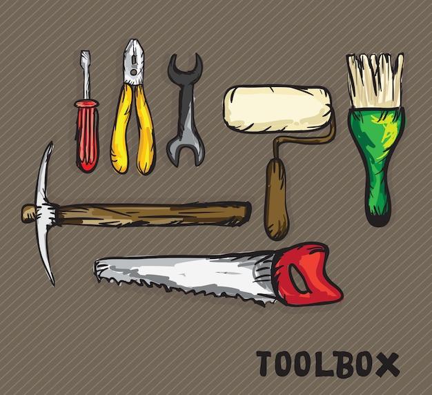 Иконки строительства (отвертка гаечный ключ, валик, ножовка, кирка, плоскогубцы)