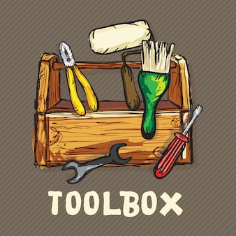 Конструкция иконки набор инструментов (отвертка гаечный ключ роликовые щетки)