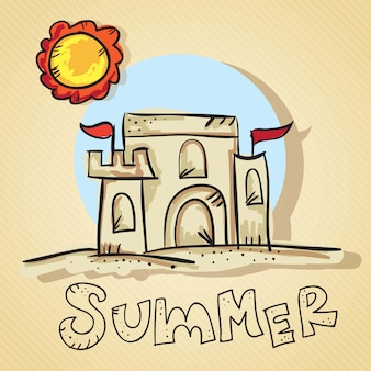 Летняя сцена замок из песка с солнцем