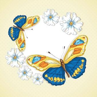 ヴィンテージ背景に青と黄色の蝶の聖霊降臨祭の花