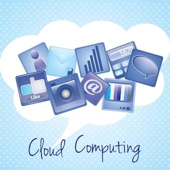 クラウドコンピューティングの通信は青い背景の上に署名します。