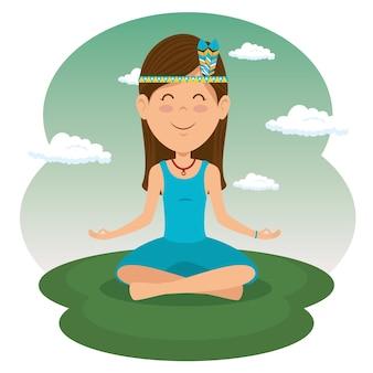 Сидящая женщина-хиппи, медитирующая