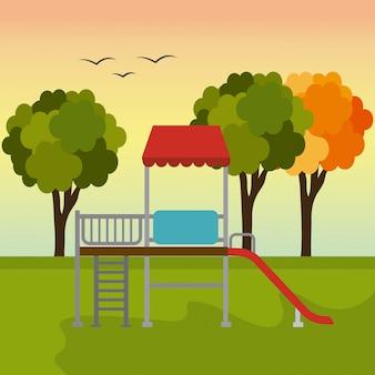 緑豊かな公園のデザイン。