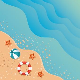 Летний пляжный пейзаж с океаном и иконы