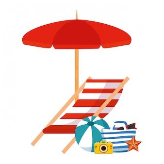 傘と夏のアイコンとビーチバッグ