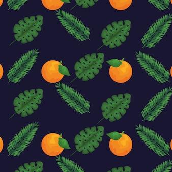 Оранжевые фрукты и листья