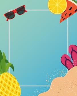 熱帯のアイコンと夏フレーム