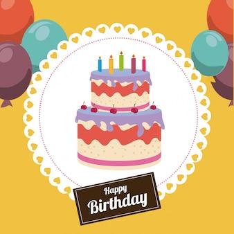 Дизайн дня рождения над желтой иллюстрацией