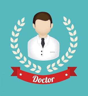Медицинский дизайн над синей иллюстрацией