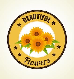ベージュのイラストの上の花のデザイン