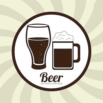 ビールデザインベージュイラスト