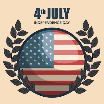 アメリカ独立記念日のエンブレムお祝い
