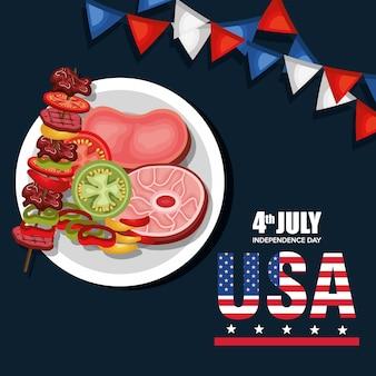 Вечеринка барбекю в день независимости сша