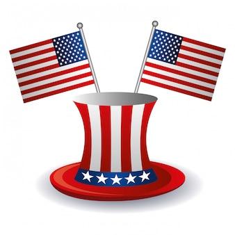 アメリカ国旗と帽子のデザイン。