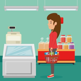 Женщина с продуктами в супермаркете