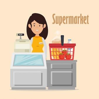 スーパーマーケット売り手女性キャラクター