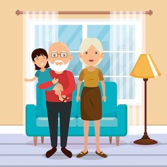 リビングルームのシーンで家族の両親