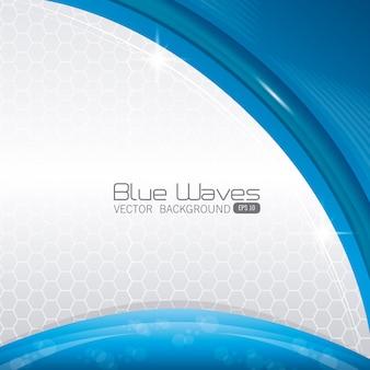 青い波は背景デザインを抽象化します。