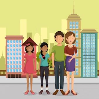 Члены семьи на улице персонажей