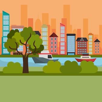 都市の景観と川のシーン