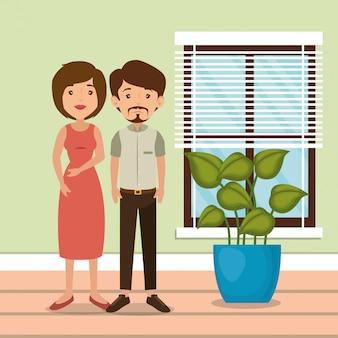 家の場所のシーンで家族の両親