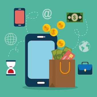 電子商取引のアイコンを持つスマートフォン
