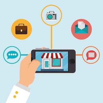 Смартфон с иконками электронной коммерции
