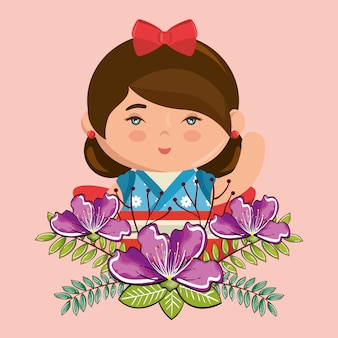 花の文字と小さな日本の女の子かわいい