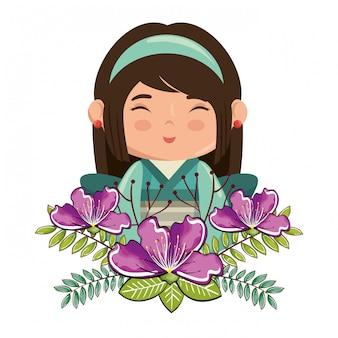 Маленькая японская девушка каваи с цветами персонажа