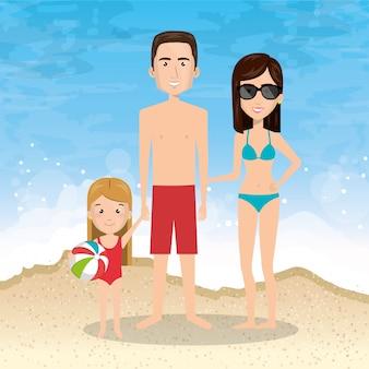 ビーチで娘を持つ両親