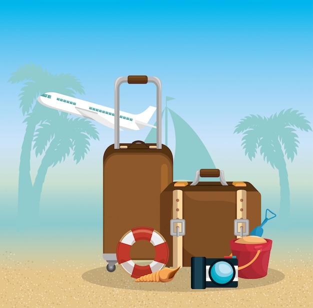 Летние каникулы набор иконок