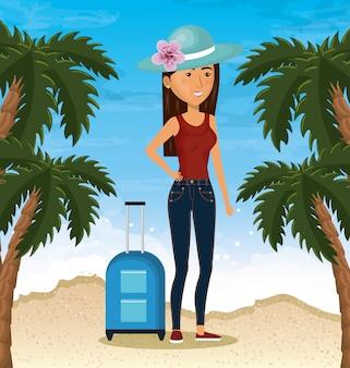 ビーチで女性キャラクター