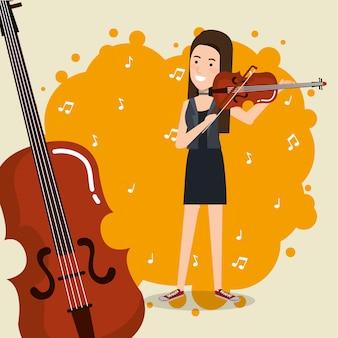 バイオリンを弾く女性と一緒に暮らす音楽祭