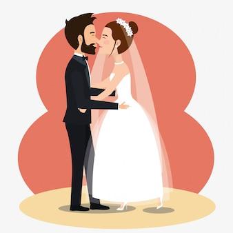 アバターのキャラクターを踊るちょうど結婚されていたカップル
