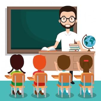 教室で生徒と男の先生