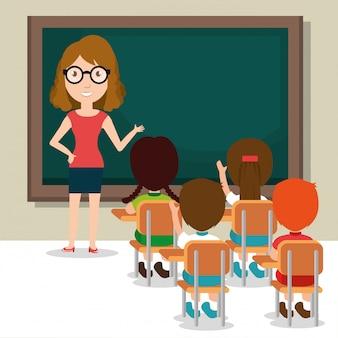 教室で生徒と女教師