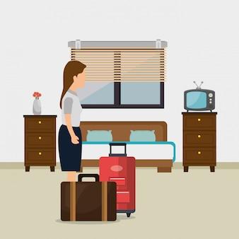 Обслуживание номеров женщина работает в отеле