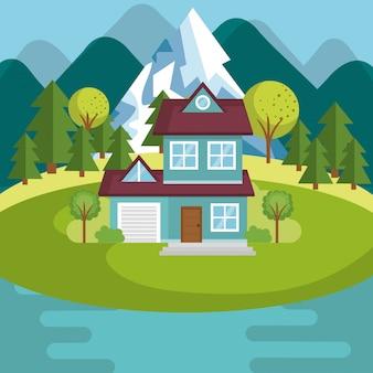 家と湖の風景のある風景