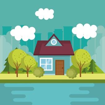 Пейзаж с домом и озером