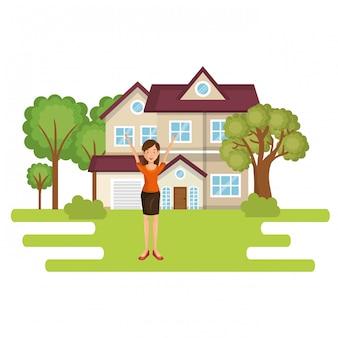 家と女性のシーンのある風景