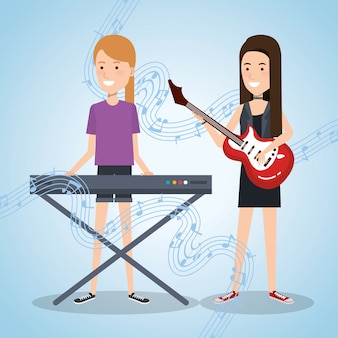 ピアノとギターを弾く女性と一緒に暮らす音楽祭