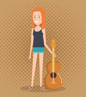 アコースティックギターを演奏する女性とライブ音楽祭