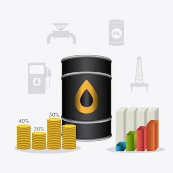 Нефтяная и нефтедобывающая инфографика