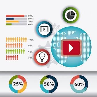 世界のつながりとビジネスのインフォグラフィック